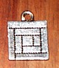 Log Cabin Quilt Block Pewter Charm